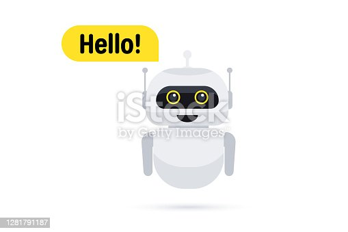 istock Chat bot in smartphone. Chat messenger icon. Support or service icon. Support service bot say users Hello. Chatbot greets. Online consultation. Customer service, support, assistance, call center 1281791187