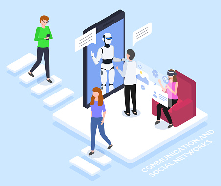 Chat Bot on Smartphone Screen Virtual Communication