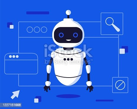 Chat bot robot say hi vector flat cartoon character illustration on blue background speak bubble voice support service chat bot virtual online help customer support