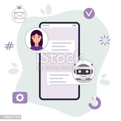 Chat bot robot say hi vector flat cartoon character illustration  speak bubble voice support service chat bot virtual online help customer support