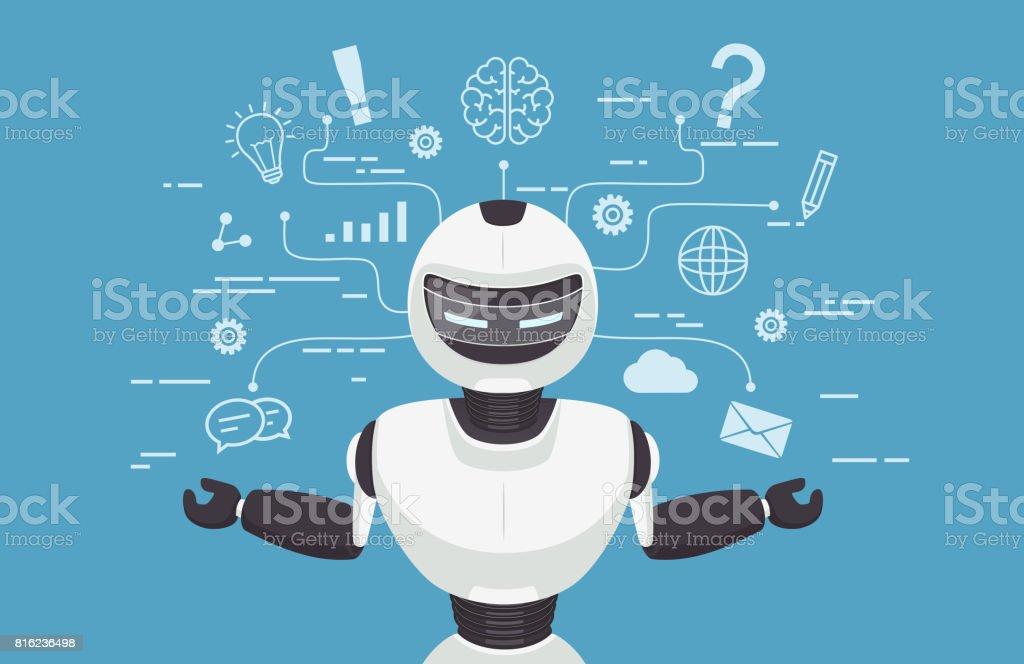Chat-Bot, Roboter virtuelle Unterstützung. Künstliche Intelligenz Konz – Vektorgrafik