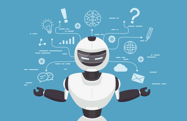 chat-bot, roboter virtuelle unterstützung. künstliche intelligenz konz - assistent stock-grafiken, -clipart, -cartoons und -symbole