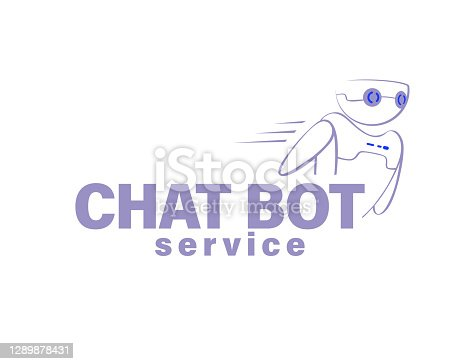 Chat bot service logo design and virtual support and communication concept. Vector flat illustration.