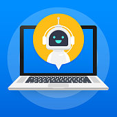 Chat Bot Using Laptop Computer, Robot Virtual Assistance Of Website Or Mobile Applications. Voice support service bot. Online support bot. Vector stock illustration.