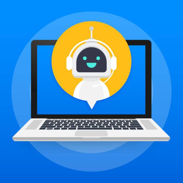 chat-bot mit laptop-computer, roboter virtuelle assistenz website oder mobile anwendungen. stimme unterstützen service bot. online-unterstützung bot. vektor-illustration. - assistent stock-grafiken, -clipart, -cartoons und -symbole