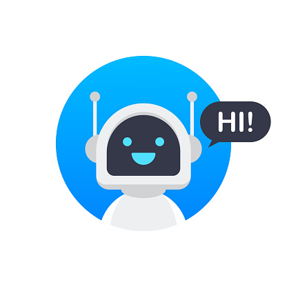 Chat Bot Using Laptop Computer, Robot Virtual Assistance Of Website Or Mobile Applications. Voice support service bot. Online support bot. Vector illustration.