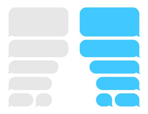 Chat box message bubbles. Balloon messenger screen template. Vector flat dialog. Social media application. Chatting interface Chat box message bubbles. Balloon messenger screen template. Vector flat dialog. Social media application. Chatting interface. text stock illustrations