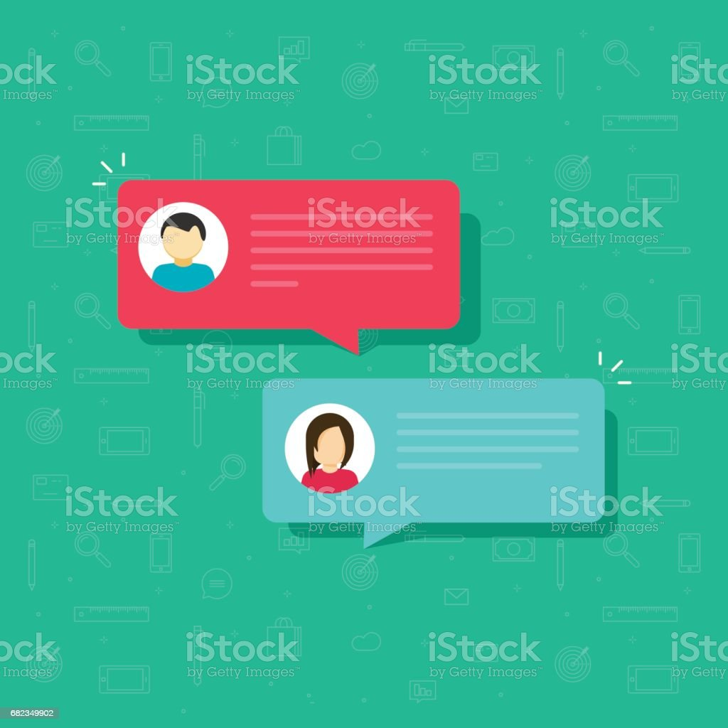 Chat bubble icon vector, flat messages bubbles with man and woman icons, idea of internet dialog, communication, conversation, talk vector art illustration