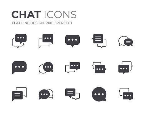 Set of Chat Vector Icons. Contain Icons as Speech Bubble, Discussion, Talking and more.