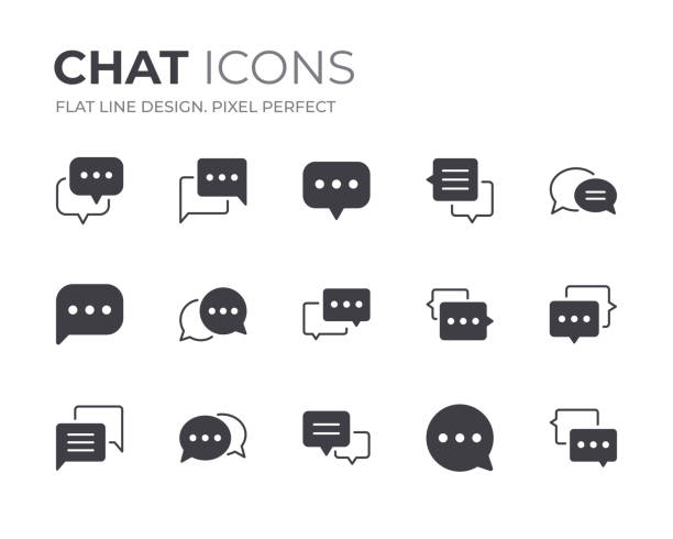 stockillustraties, clipart, cartoons en iconen met chat bubble icons set - talking