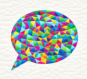 Chat Bubble on triangular pattern mosaic royalty free vector art. Colorful triangles form a mosaic design. This graphic design is set against a white triangular background. The pattern has a modern trendy look and the colors are bright. Icon download includes vector art and jpg file.