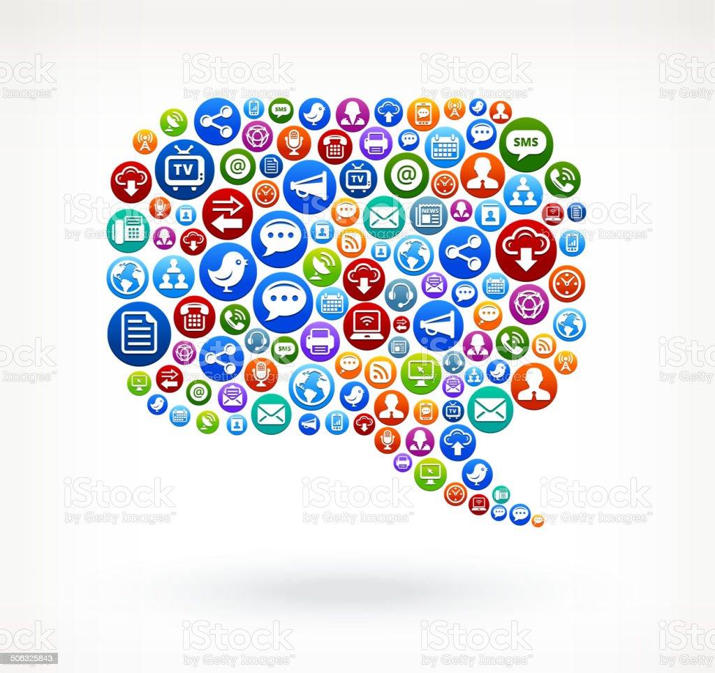 Chat Gesprächsblase Lizenzfreie Vektorsocial Network Und Interneticonset  Stock Vektor Art und mehr Bilder von Blau
