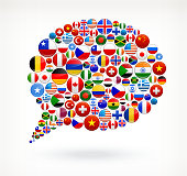 Chat bubble with World Flag Buttons on white background. The Flags of the world include US flag stars and stripes, Maple Leave Canada Flag, United Kingdom Flag, European Union flag, flag of Israel, German flag and many more national flags. Icon download includes vector art and jpg file.
