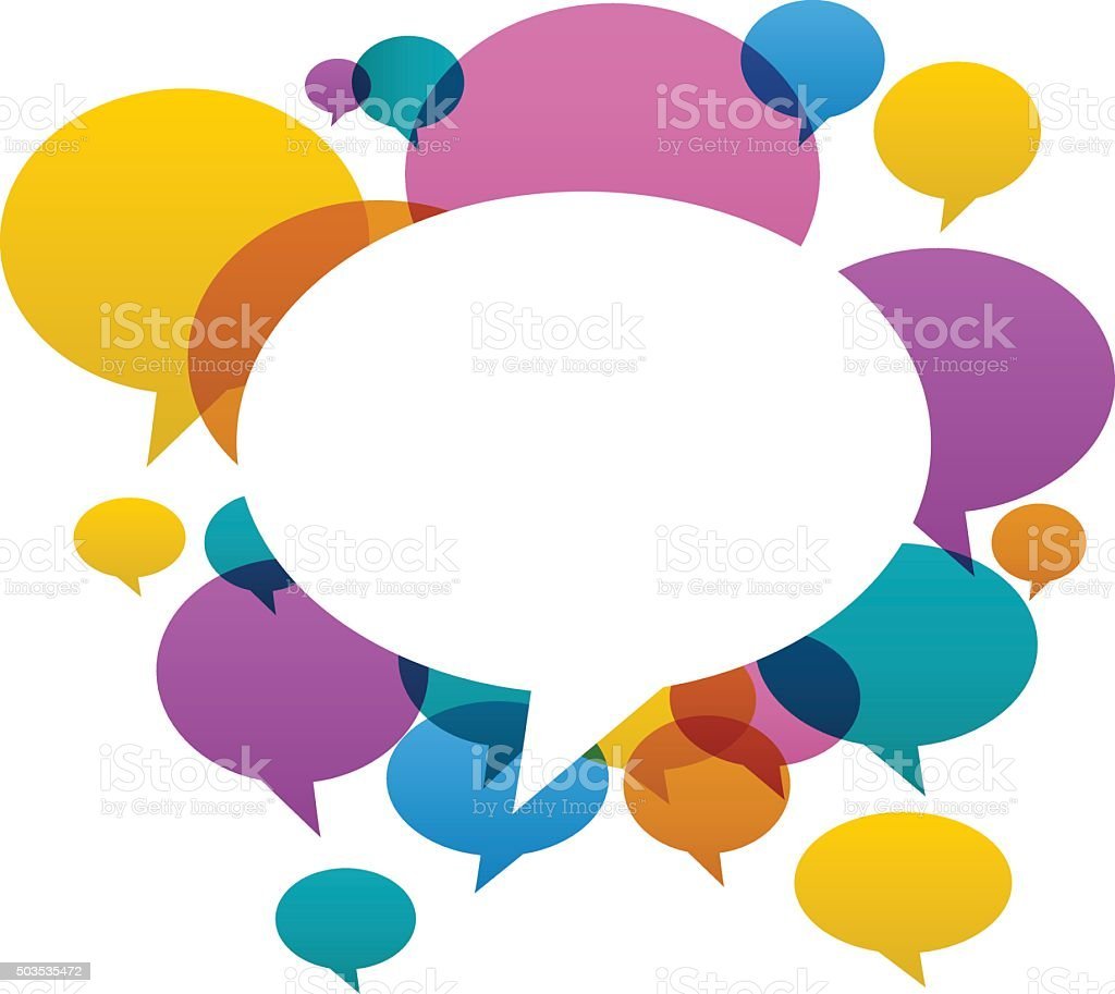 Chat bubbles in various colors on white background vector art illustration