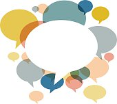 Chat bubbles in various retro colors on white background. Hires JPEG (5000 x 5000 pixels) and EPS10 file included. Contains gradient mesh (EPS10).
