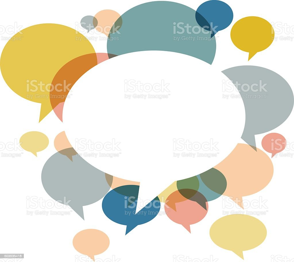 Chat bubbles in various retro colors on white background vector art illustration