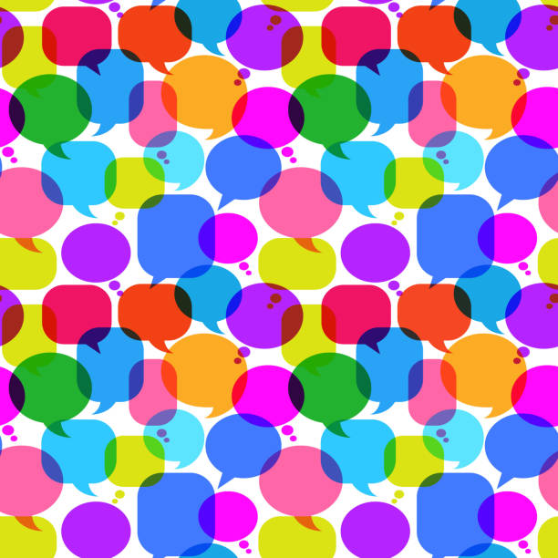 Chat Bubbles royalty free vector art Pattern Colorful Chat Bubbles Icon PatternBlue Chat Bubbles Icon Pattern pattern stock illustrations