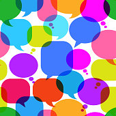 Colorful royalty free vector Chat Bubbles interface icon pattern. The pattern features royalty free vector dialog balloon, speech bubble, chat, dialog, and blog. interface icons can be used separately for app and internet buttons. Icon download includes vector art and jpg file.