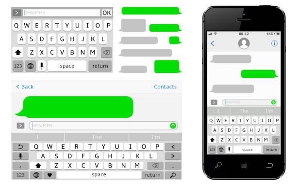 SMS Chat-Komponist. Smartphone Sms Vorlage Luftblasen im Chat. – Vektorgrafik