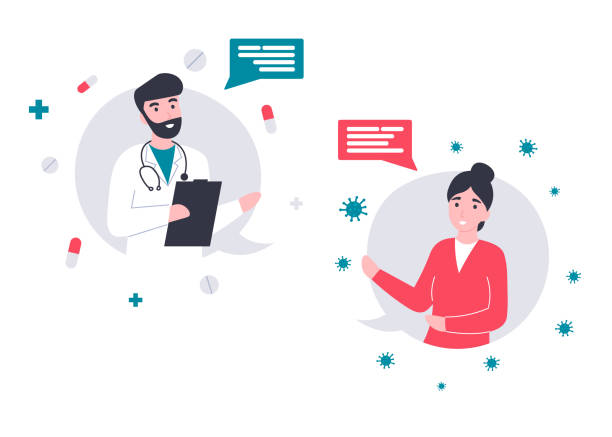 Chat, dialogue icons, girl talking with a doctor online vector art illustration