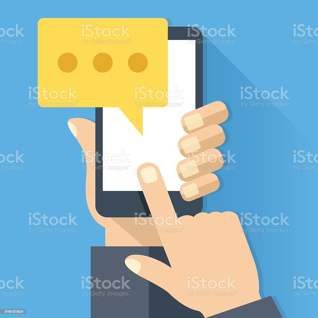 Chat icon, message and smartphone. Instant messaging. Flat vector illustration vector art illustration