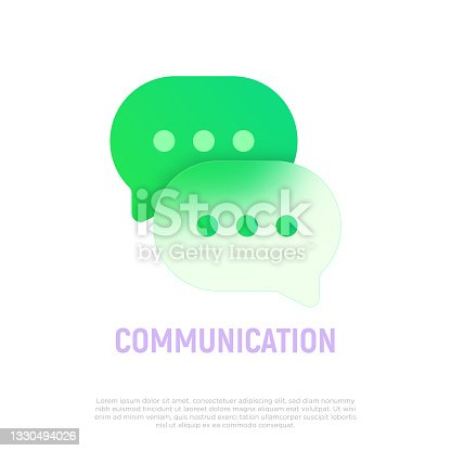 istock Chat icon: two speech bubbles. Glassmorphism style. Discussion symbol. Vector illustration. 1330494026