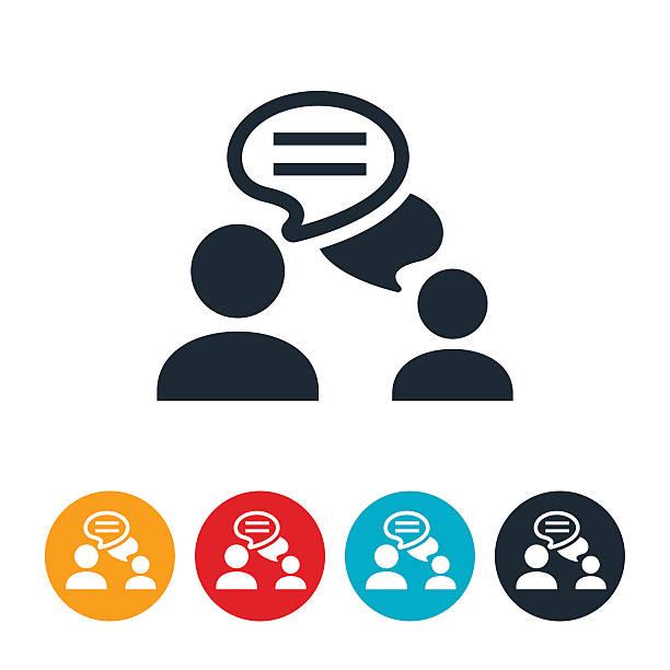 ilustraciones, imágenes clip art, dibujos animados e iconos de stock de icono de chat - parejas hablando