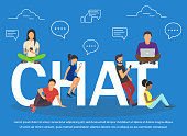 Chat illustration of young people using mobile gadgets .Flat big letters chat and guys