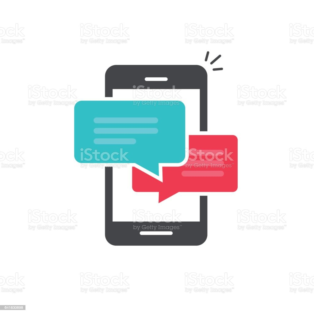 Chat in mobile phone icon vector, flat smartphone dialog bubble speeches symbol