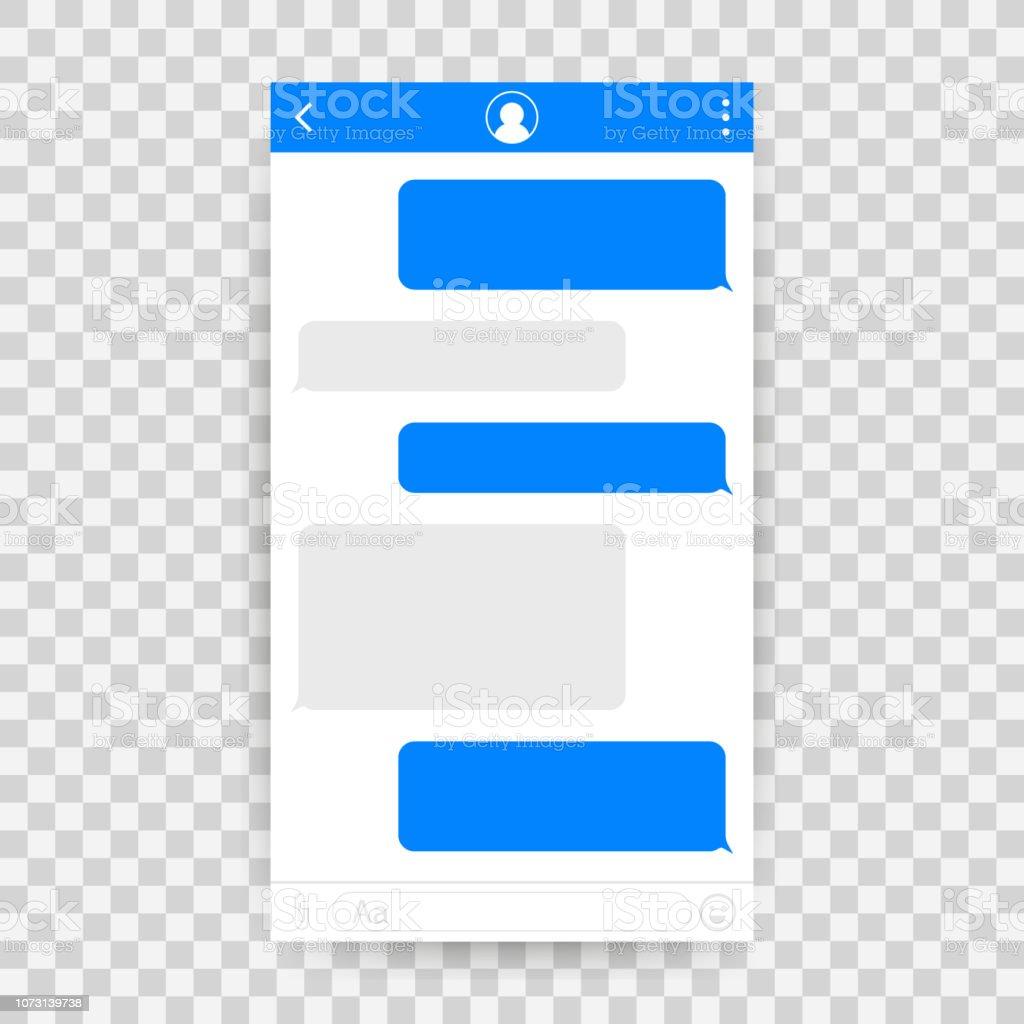 Chatten Sie Schnittstelle Anwendung mit Dialog-Fenster. Reinigen Sie Mobile UI-Design-Konzept. SMS Messenger. Vektor-Illustration. – Vektorgrafik
