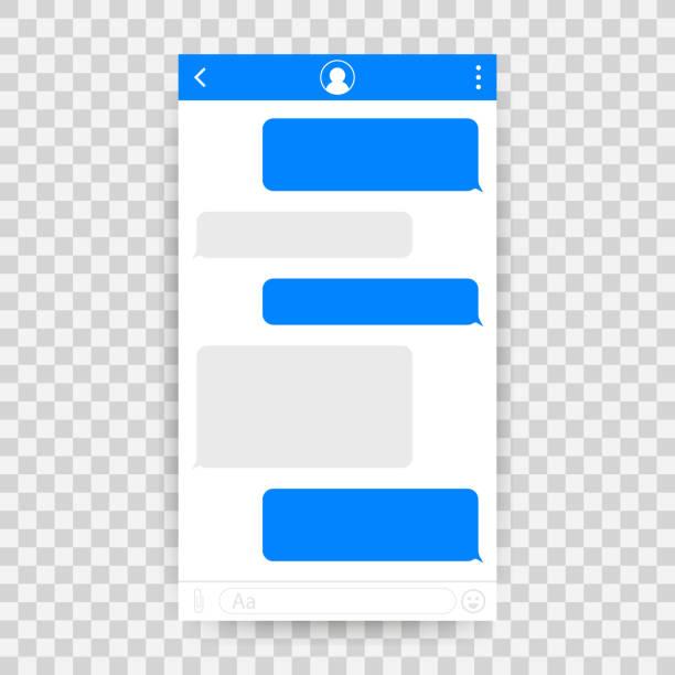ilustrações de stock, clip art, desenhos animados e ícones de chat interface application with dialogue window. clean mobile ui design concept. sms messenger. vector illustration. - texto