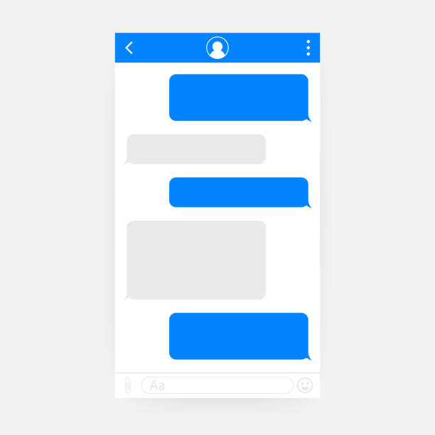 Chat Interface Application with Dialogue window. Clean Mobile UI Design Concept. Sms Messenger. Vector illustration. Chat Interface Application with Dialogue window. Clean Mobile UI Design Concept. Sms Messenger. Vector stock illustration. animal call stock illustrations