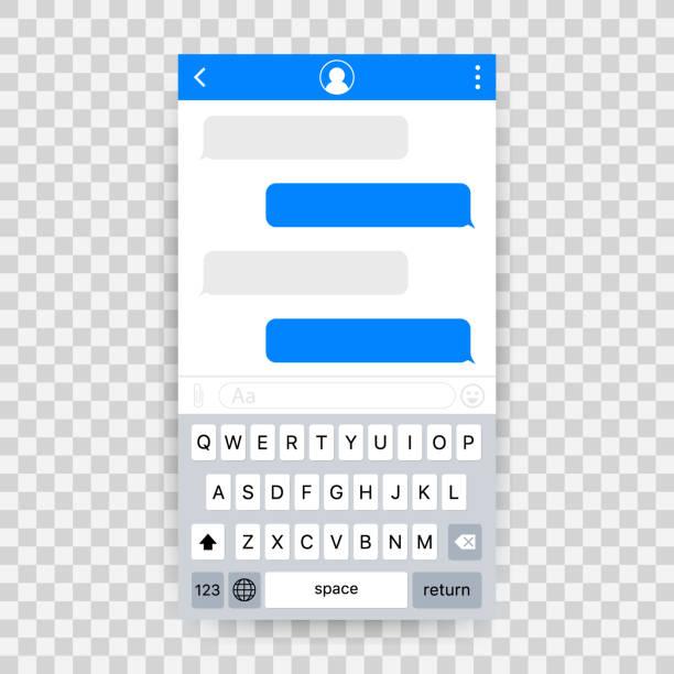chatten sie schnittstelle anwendung mit dialog-fenster. reinigen sie mobile ui-design-konzept. sms messenger. vektor-illustration. - sms stock-grafiken, -clipart, -cartoons und -symbole