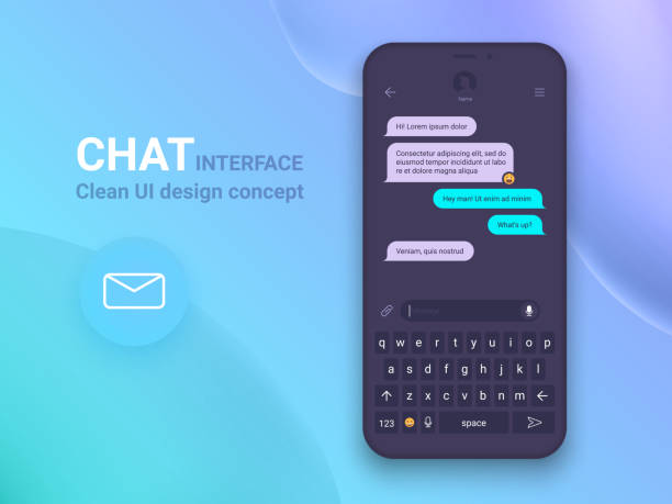 chat interface application with dialogue window. clean mobile ui design concept. sms messenger. flat web icons - whatsapp stock illustrations
