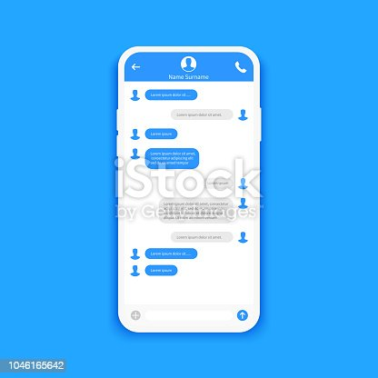Chat interface. Sms messages. Speech bubbles. Short message service bubbles. Flat interface Vector illustration