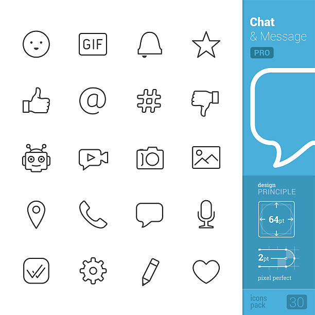 Chat interface vector icons - PRO pack Chat & Message related single line icons pack. email signs stock illustrations