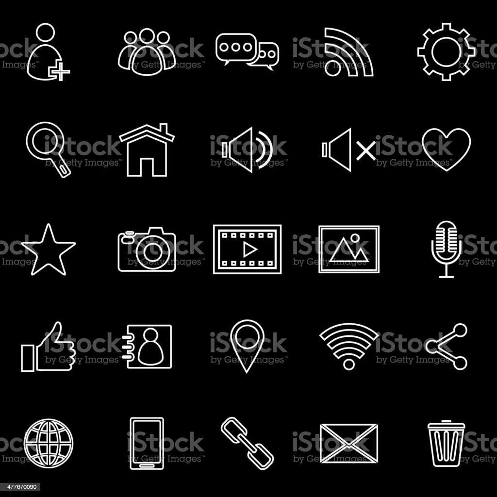 chat line icons on black background stock vector art more images