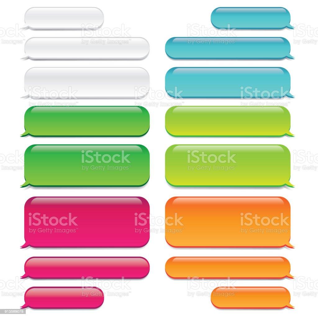 Bate-papo mensagem bolhas w vidro-como a aparência - conversa de SMS - ilustração de arte em vetor