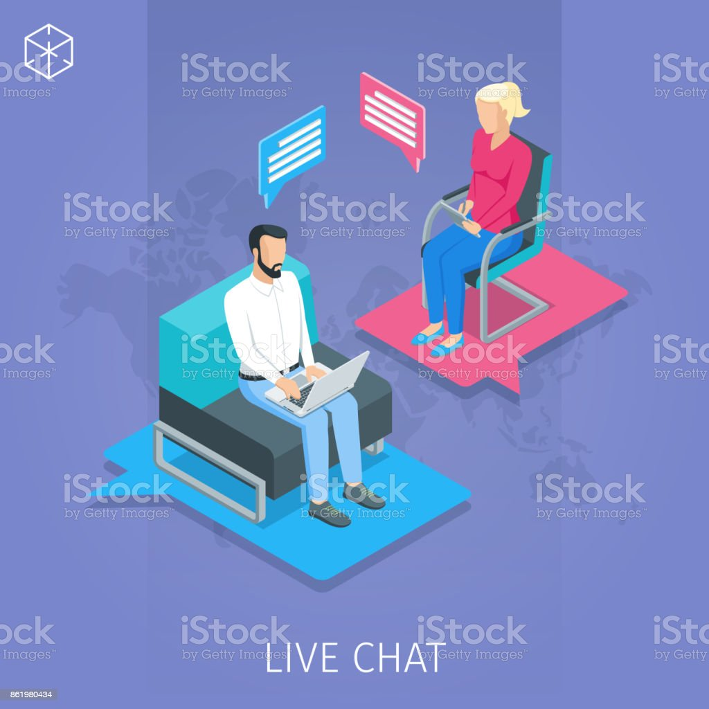 chat message conceptual banner vector art illustration