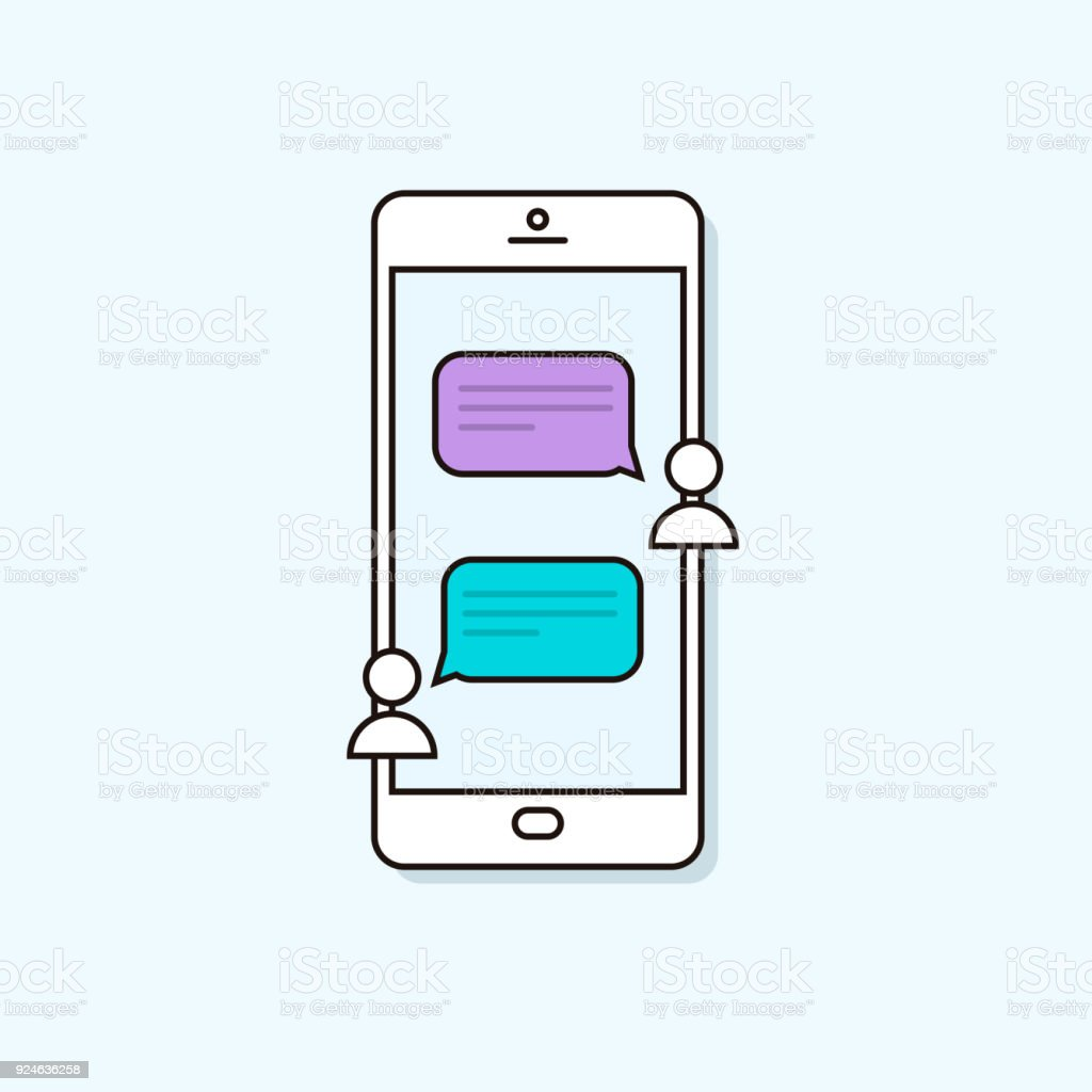 Chat message notifications on a smartphone. Online mobile conversation between two people. Vector trendy outline phone illustration vector art illustration