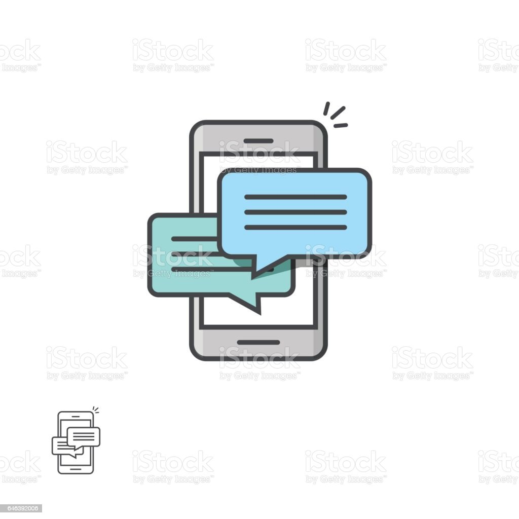 Chat message notifications on smartphone vector icon, mobile phone sms, chatting bubble speeches vector art illustration
