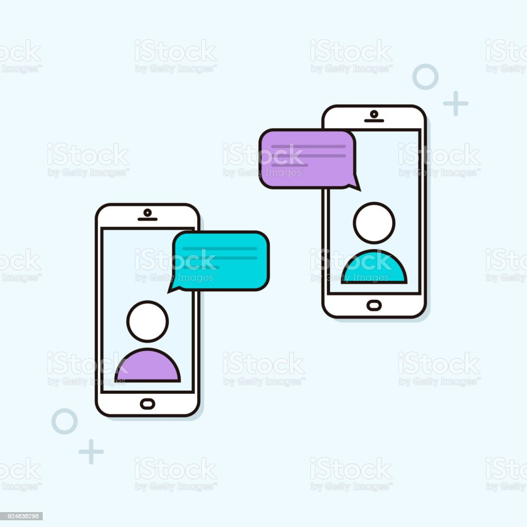 Chat message notifications on two smartphones. Online mobile conversation between two people. Vector trendy outline phone illustration vector art illustration