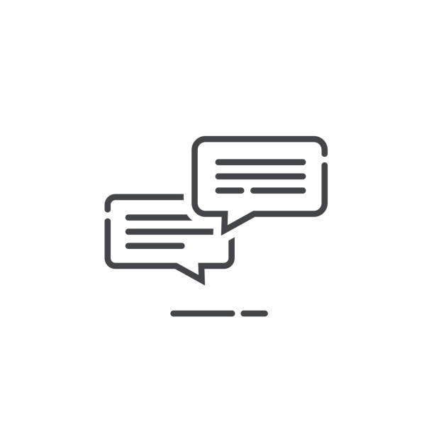 Chat messages icon notification vector illustration, line outline sms conversation bubbles with text, chatting symbol or sign isolated, speech or talk linear art pictogram, comment balloons Chat messages icon notification vector illustration, line outline style sms conversation bubbles with text, chatting symbol or sign isolated, speech or talk linear art pictogram, comment balloons debate stock illustrations