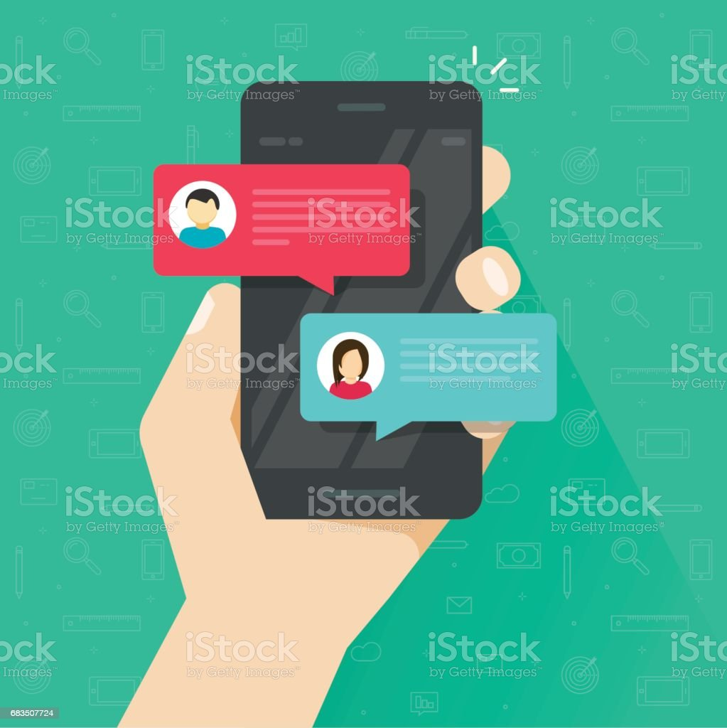 Chat messages notification on smartphone vector, flat sms bubbles on mobile phone screen, man person chatting on cellphone with woman vector art illustration