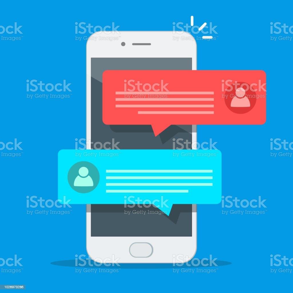 휴대 전화 화면, 남자 사람 핸드폰에 고립 된 여자와 채팅에 채팅 메시지 알림 스마트폰 벡터 일러스트 레이 션에, 플랫 만화 sms 거품 - 로열티 프리 0명 벡터 아트