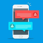 istock Chat messages notification on smartphone vector illustration, flat cartoon sms bubbles on mobile phone screen, man person chatting on cellphone with woman isolated 1026973286