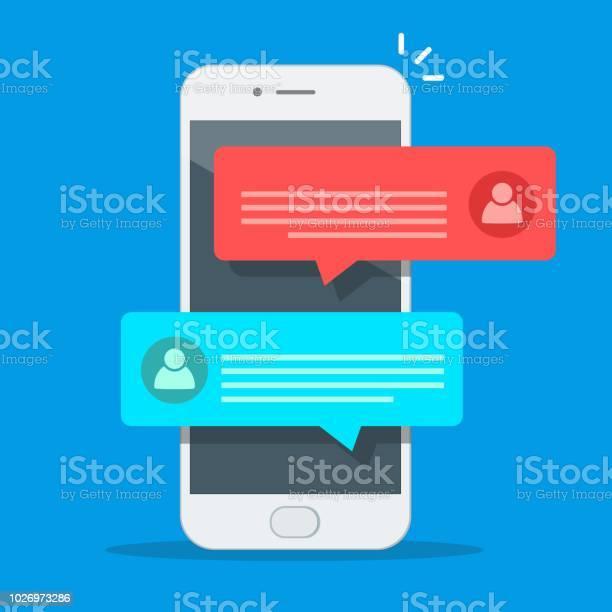휴대 전화 화면 남자 사람 핸드폰에 고립 된 여자와 채팅에 채팅 메시지 알림 스마트폰 벡터 일러스트 레이 션에 플랫 만화 Sms 거품 0명에 대한 스톡 벡터 아트 및 기타 이미지