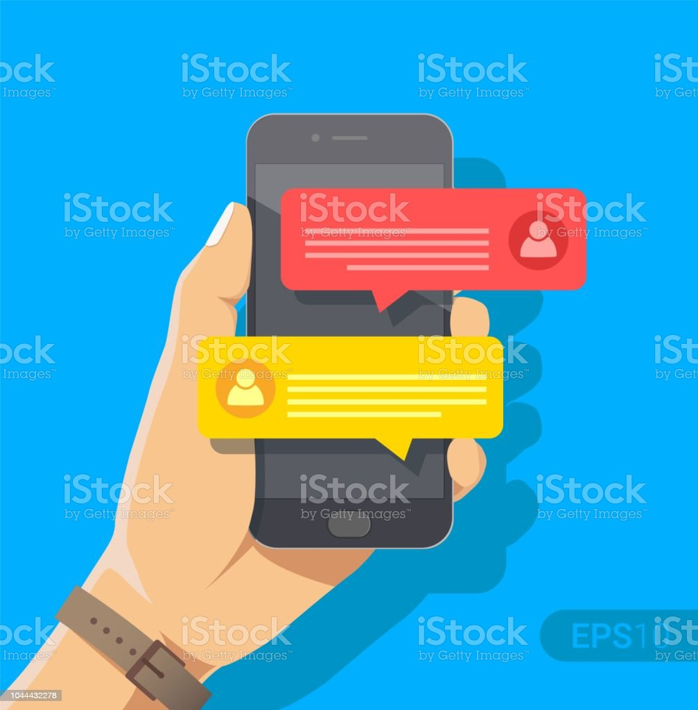 Chat messages notification on smartphone vector illustration, flat cartoon  sms bubbles on mobile phone screen, man person chatting on cellphone with  woman ...