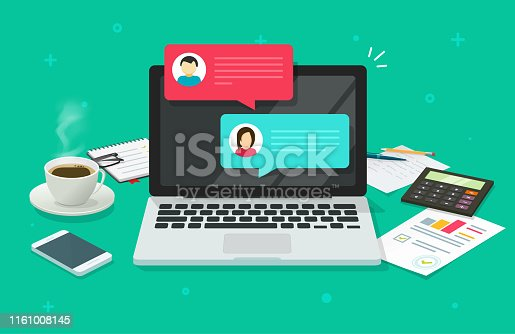 Chat messages on computer online vector illustration, flat cartoon workspace or working desk laptop pc with chatting bubble notifications, concept of people messaging on internet