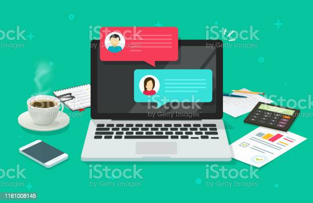 Chat messages on computer online vector illustration flat cartoon or vector id1161008145?b=1&k=6&m=1161008145&s=612x612&h=apagiwtrtwaghgsg6tvov6hxad49rngpcrppyah6lza=